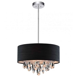 "18"" Struttura Modern Crystal Round Pendant Double Shade Black Fabric 4 Lights"