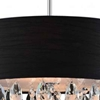 """Picture of 18"""" Struttura Modern Crystal Round Pendant Double Shade Black Fabric 4 Lights"""