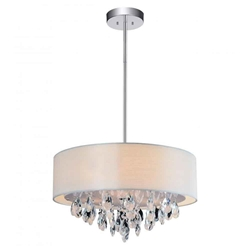 "18"" Struttura Modern Crystal Round Pendant Double Shade Offwhite Fabric 4 Lights"