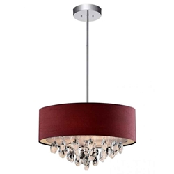 "18"" Struttura Modern Crystal Round Pendant Double Shade Wine Red Fabric 4 Lights"