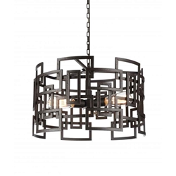 """19"""" 3 Light Down Chandelier with Brown finish"""