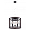 """Picture of 19"""" 3 Light Drum Shade Pendant with Black finish"""