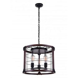 "19"" 3 Light Drum Shade Pendant with Black finish"