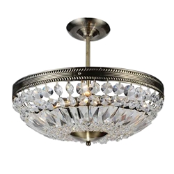 """19"""" 4 Light Down Chandelier with Antique Brass finish"""