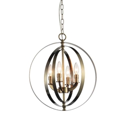 """19"""" 4 Light Up Chandelier with Antique Brass finish"""