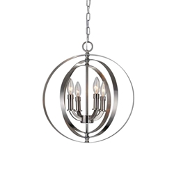 """19"""" 4 Light Up Chandelier with Satin Nickel finish"""