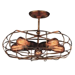 "19"" 5 Light  Flush Mount with Antique Copper finish"