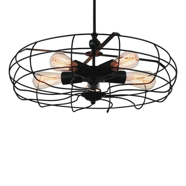 "Picture of 19"" 5 Light  Flush Mount with Black finish"