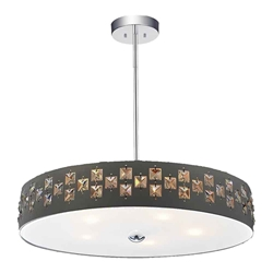 """19"""" 5 Light Down Chandelier with Black finish"""