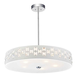 """19"""" 5 Light Down Chandelier with White finish"""