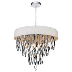 """19"""" 6 Light Drum Shade Chandelier with Chrome finish"""