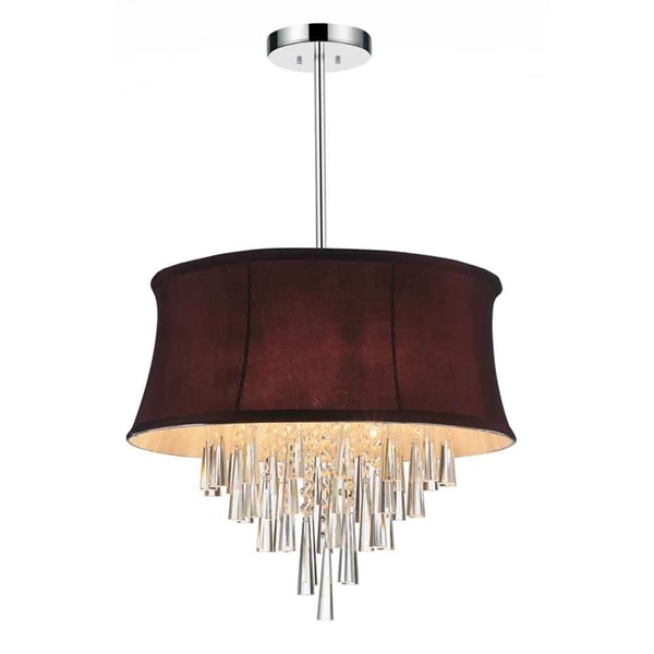 """Picture of 19"""" 6 Light Drum Shade Chandelier with Chrome finish"""