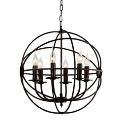 """19"""" 6 Light Up Chandelier with Brown finish"""