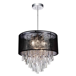 "19"" 8 Light Drum Shade Chandelier with Chrome finish"