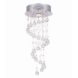 """19"""" Spiral Modern Foyer Crystal Round Chandelier Mirror Stainless Steel Base 1 Light"""