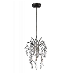 """20"""" 1 Light Down Mini Chandelier with Silver Mist finish"""