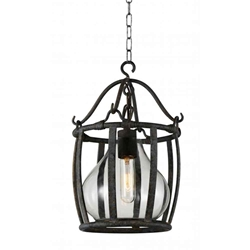 "20"" 1 Light Down Pendant with Antique Black finish"