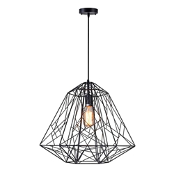 "20"" 1 Light Down Pendant with Black finish"