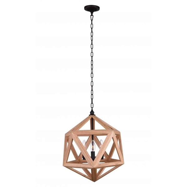 "Picture of 20"" 3 Light  Pendant with Black & Wood finish"