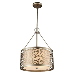 "20"" 3 Light Drum Shade Chandelier with Rubbed Silver finish"