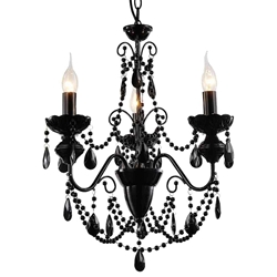 "20"" 3 Light Up Chandelier with Black finish"