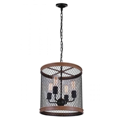"""20"""" 4 Light Drum Shade Chandelier with Black finish"""