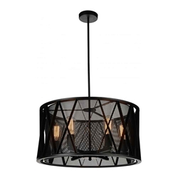 "20"" 4 Light Up Chandelier with Black finish"