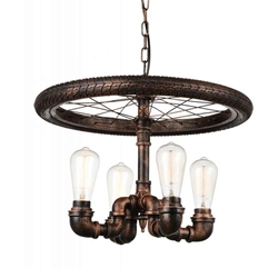 "20"" 4 Light Up Chandelier with Blackened Copper finish"