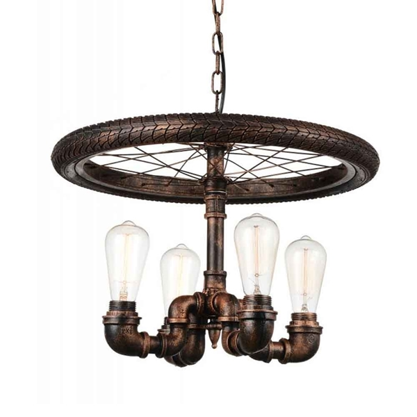 "Picture of 20"" 4 Light Up Chandelier with Blackened Copper finish"