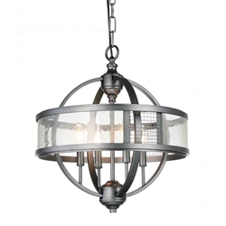 "20"" 4 Light Up Chandelier with Gray finish"