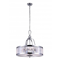 "20"" 5 Light Drum Shade Chandelier with Chrome finish"