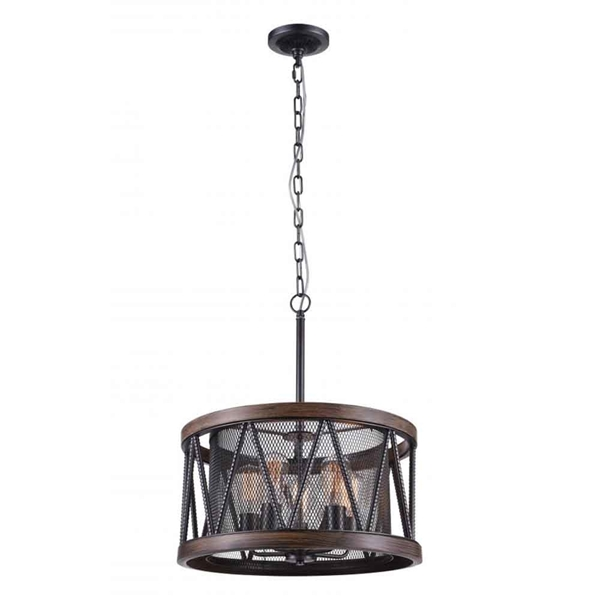 "Picture of 20"" 5 Light Drum Shade Chandelier with Pewter finish"