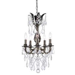 """20"""" 5 Light Up Chandelier with Antique Brass finish"""