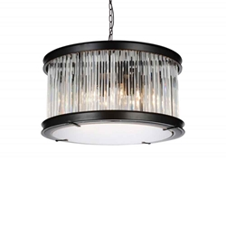 "20"" 6 Light  Chandelier with Black finish"