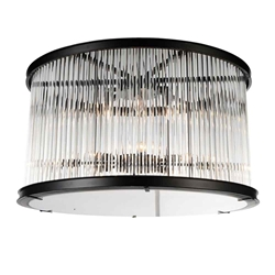 "20"" 6 Light Cage Flush Mount with Black finish"
