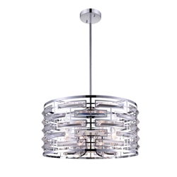 """20"""" 6 Light Drum Shade Chandelier with Chrome finish"""