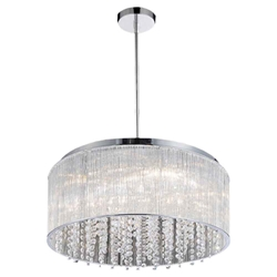 "20"" 9 Light Drum Shade Chandelier with Chrome finish"