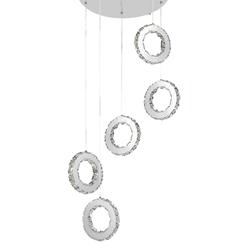 "20"" Anelli Modern Crystal Cascading Round Pendants Polished Chrome 30 LED Lights"