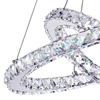 "Picture of 20"" Anelli Modern Crystal Round Double Ring Chandelier Polished Chrome 30 LED Lights"