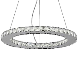 "20"" Anelli Modern Crystal Round Single Ring Chandelier Polished Chrome 18 LED Lights"