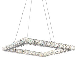 "20"" Anelli Modern Crystal Square Pendant Polished Chrome 24 LED Lights"