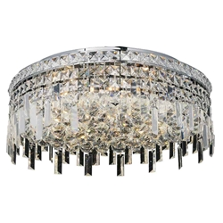 "20"" Bossolo Transitional Crystal Round Flush Mount Chandelier Polished Chrome 8-Lights"