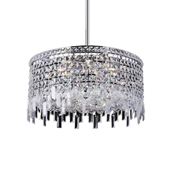 "20"" Bossolo Transitional Crystal Round Pendant Chandelier Polished Chrome 8 Lights"