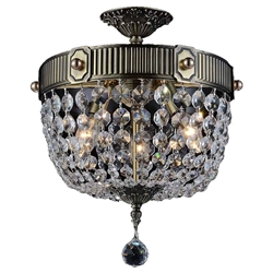 "20"" Caro Traditional Crystal Round Semi-Flush Mount Ceiling Lamp Antique Brass 3 Lights"