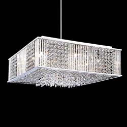 "20"" Cristallo Modern Crystal Square Pendant Chandelier Polished Chrome12 Lights"