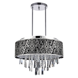"20"" Drago Modern Crystal Round Laser Cut Stainless Steel Shade Black Fabric Pendant Chandelier 9 Lights"