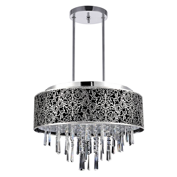 "Picture of 20"" Drago Modern Crystal Round Laser Cut Stainless Steel Shade Black Fabric Pendant Chandelier 9 Lights"