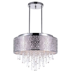 "20"" Drago Modern Crystal Round Laser Cut Stainless Steel Shade Off White Fabric Pendant Chandelier 9 Lights"