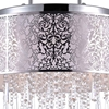 """Picture of 20"""" Drago Modern Crystal Round Laser Cut Stainless Steel Shade Off White Fabric Pendant Chandelier 9 Lights"""