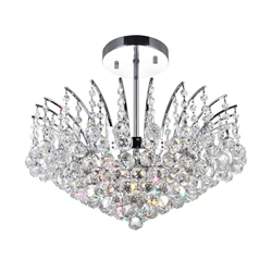 "20"" Elegant Crystal Flush Mount Round Chandelier Chrome / Gold 6 Lights"